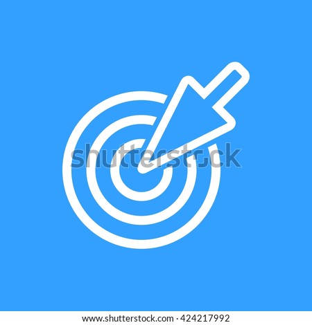 Aim    vector icon. White  Illustration isolated on blue  background for graphic and web design. - stock vector