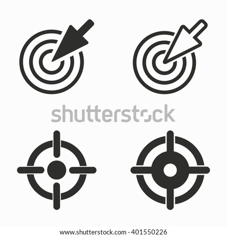 Aim    vector icons set. Black  illustration isolated on white  background for graphic and web design. - stock vector