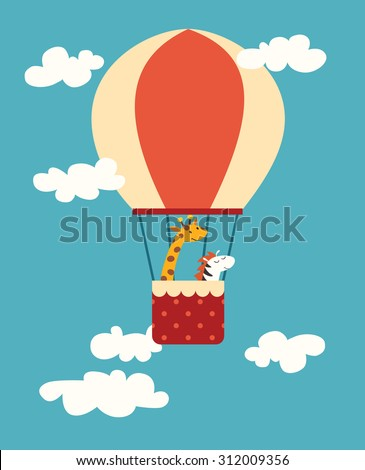 Air balloon animals print. Giraffe and zebra in a balloon in the sky with clouds, vector illustration - stock vector