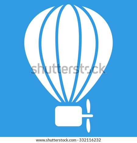 Air Balloon vector icon. Style is flat symbol, white color, rounded angles, blue background.