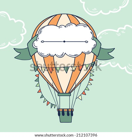 Air balloon with party ribbon, flags and message cloud for your text. Vector illustration on abstract background - stock vector
