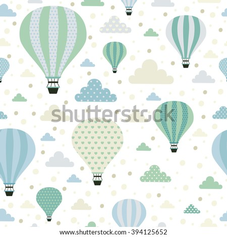 Air balloons. Seamless pattern with cute air balloons and clouds.  All elements are  hidden under mask. Pattern are not cropped and can be edited. Cute vector illustration. Vacation, holiday, travel. - stock vector