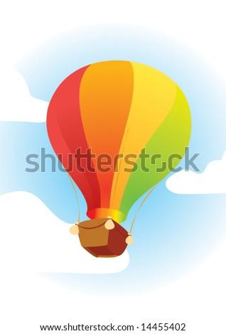 air color big balloon in the sky - stock vector
