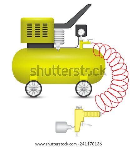 Air compressor and big stapler isolated on white background. - stock vector