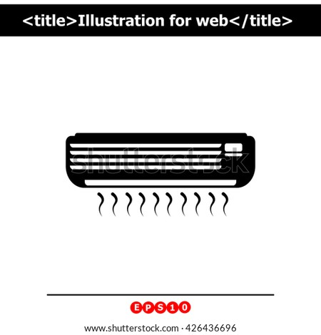 Air conditioner icon. Simple black vector symbol. Logo for web. Image for business.