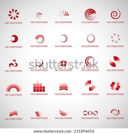 Air Conditioner Icons Set - Isolated On Gray Background - Vector Illustration, Graphic Design Editable For Your Design - stock vector
