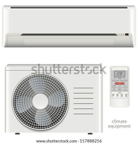 Air conditioner system set - stock vector