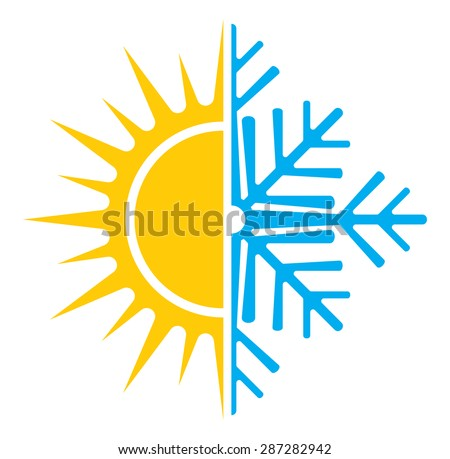 Air conditioning vector icon - summer winter - stock vector