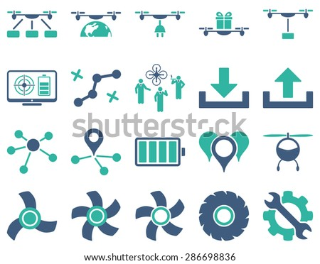 Air drone and quadcopter tool icons. Icon set style: flat vector bicolor images, cobalt and cyan symbols, isolated on a white background. - stock vector