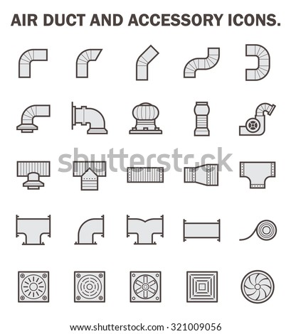Air duct and accessory icon sets. - stock vector