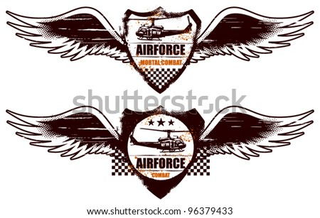 air force grunge shield with wings and helicopter - stock vector