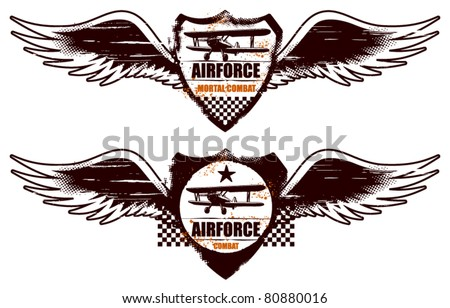 air force grunge shield with wings and plane - stock vector