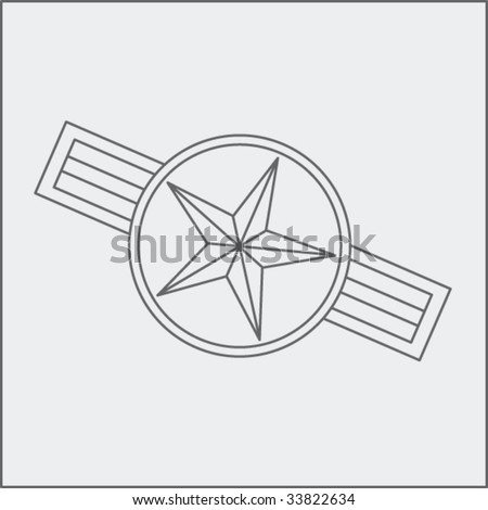air force icon in fine thin line drawing - stock vector
