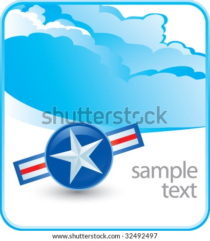 air force icon on cloud banner - stock vector