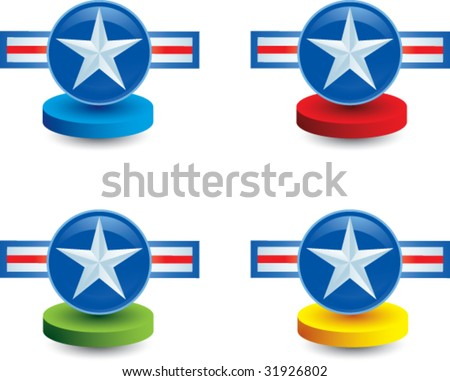 air force icon on colored displays - stock vector