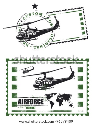 air force mail stamp with helicopter and world map - stock vector
