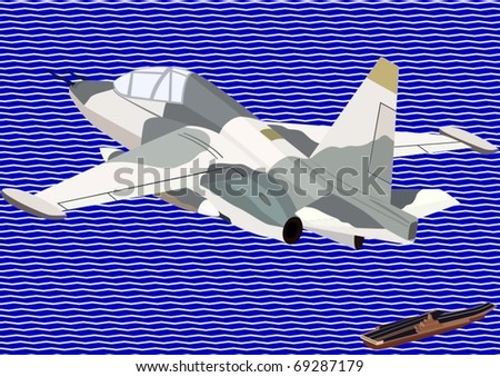 Air force. Military aircraft against an abstract image of the sea and an aircraft carrier