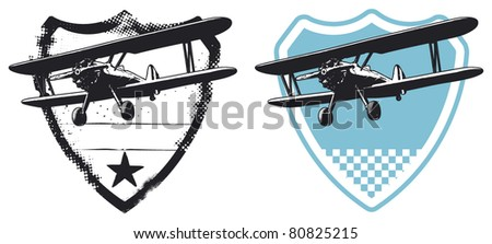 air force shield with plane - stock vector