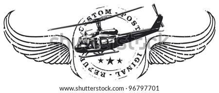 air force stamp shield with old helicopter