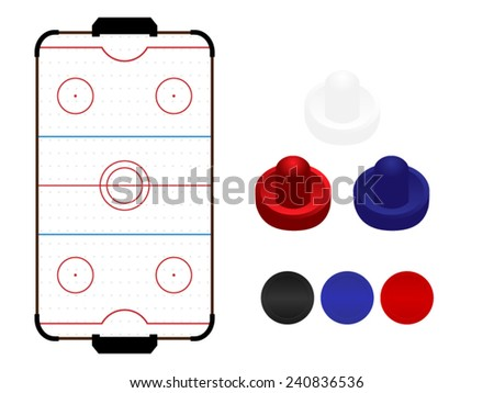 Air Hockey Table with Mallets and Pucks - stock vector