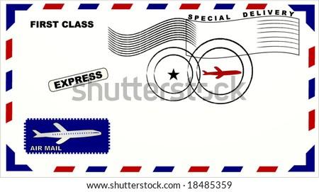 air mail envelope - stock vector