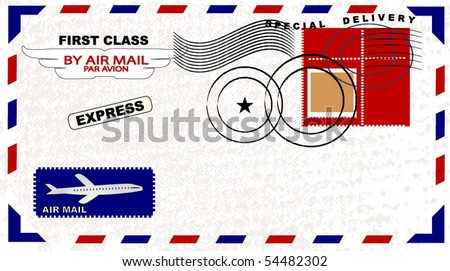 Air Mail envelope with postage - stock vector