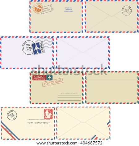 Air mail envelope with postal stamp isolated on white background. Set of vintage air mail envelopes with stamps, postal elements and copy space for text top view. Minimal vector illustrator.  - stock vector
