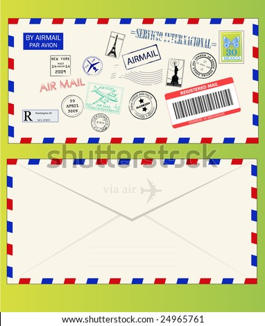 Air mail envelope with postal stamps, stickers and postmarks - stock vector