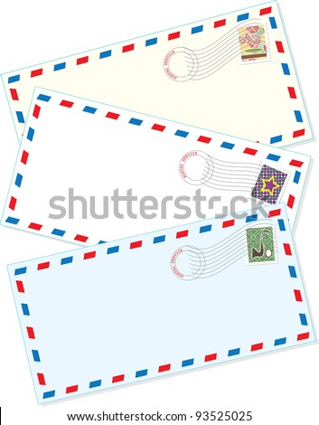 Air Mail Envelopes A background comprised of three assorted air mail letter envelopes, with cancelled stamps affixed. - stock vector