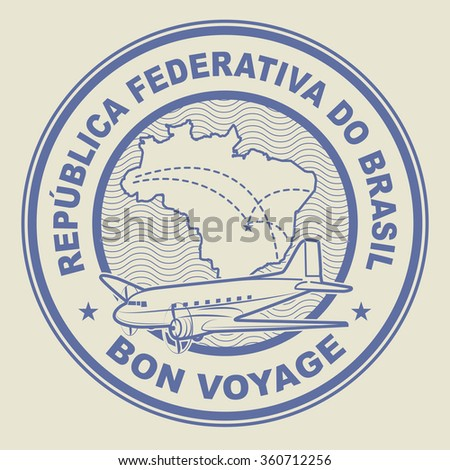 Air mail or travel stamp, Brazil theme, vector illustration - stock vector