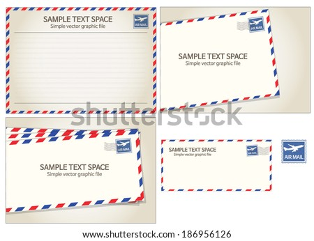 Air mail, postal stamp and letter - stock vector