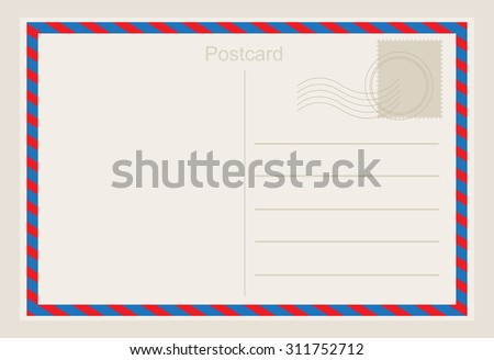 Air mail postcard .Vector template. - stock vector
