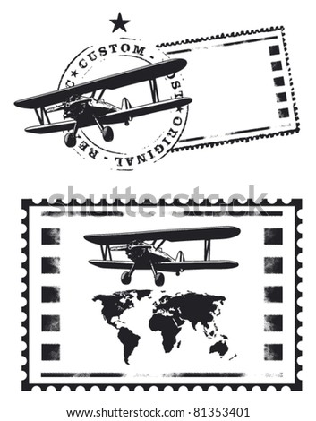 air mail stamp with world map - stock vector