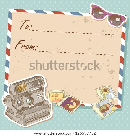 Air mail travel postcard with old grunge envelope and photo camera and sunglasses - stock vector