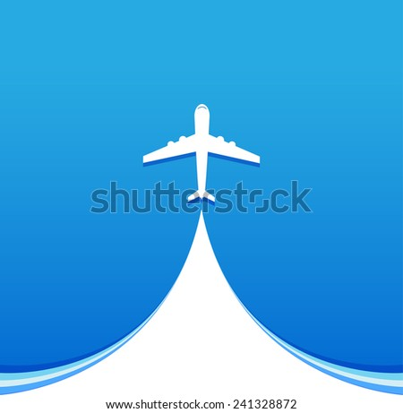 Air plane flying on the blue sky - stock vector
