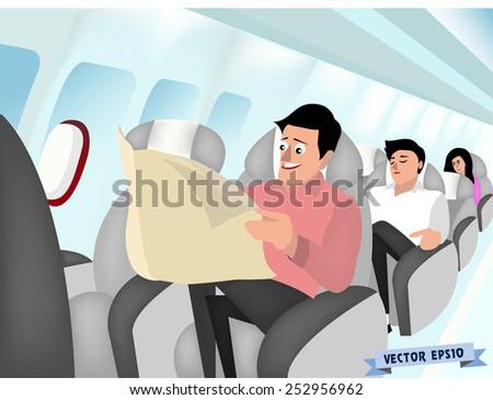 air plane interior vector - stock vector