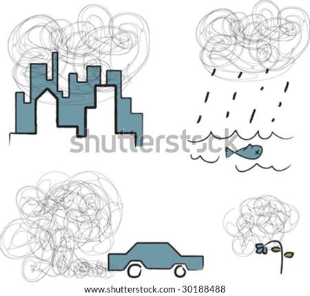 air pollution - stock vector