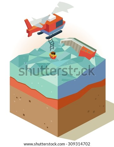 Air rescue from sinking ship. isometric art - stock vector