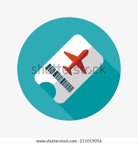 Air ticket flat icon with long shadow - stock vector