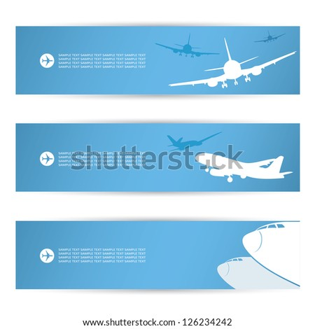 Air traffic banners - vector illustration