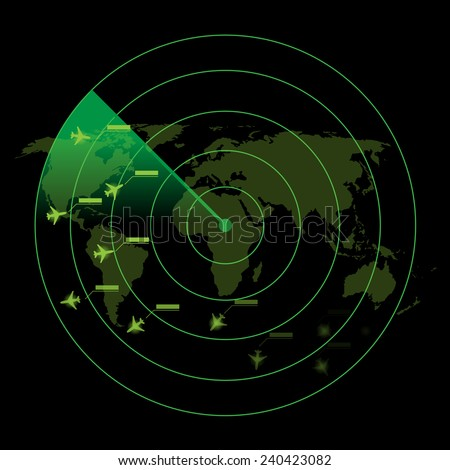 Air Traffic Control Radar - stock vector