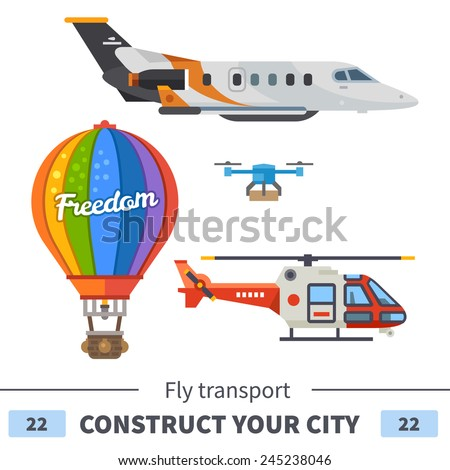 Air transport: airplane, helicopter, balloon, drone. Set of elements for construction of urban and village landscapes. Vector flat illustration - stock vector