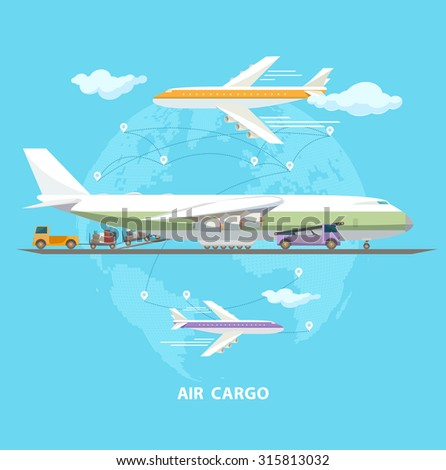 Air transportation. Flat design. - stock vector