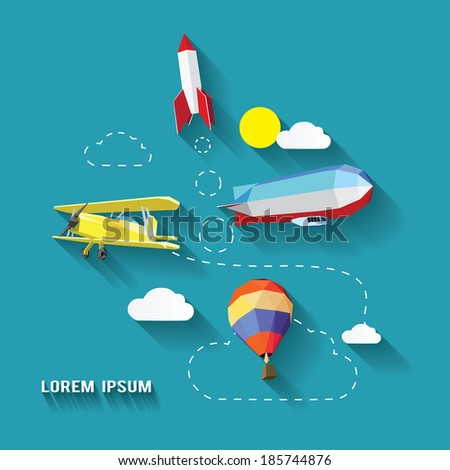 air transportation icons long shadows style - stock vector