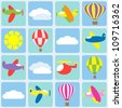 Air transportation. Seamless vector pattern - stock photo