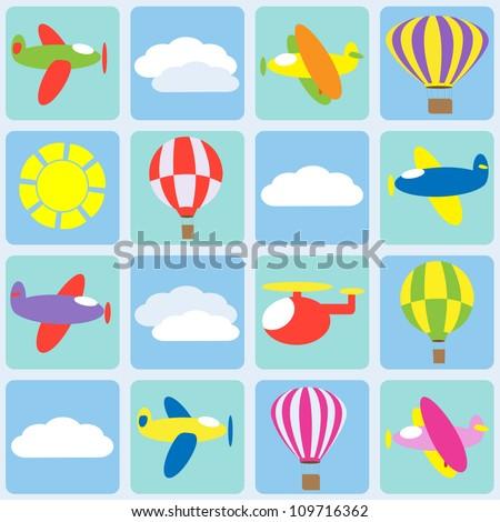 Air transportation. Seamless vector pattern - stock vector