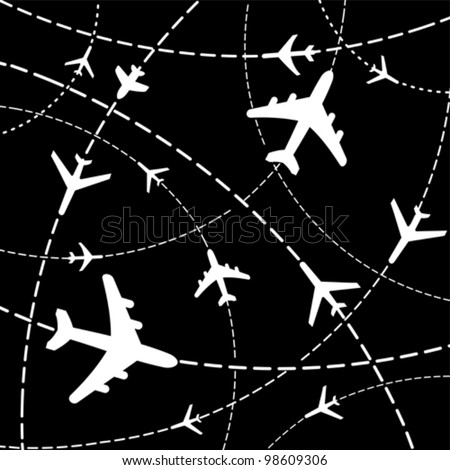 Air travel. Airplanes on their destination routes. Vector Illustration - stock vector