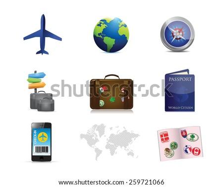 air travel concept icon set illustration design over white - stock vector