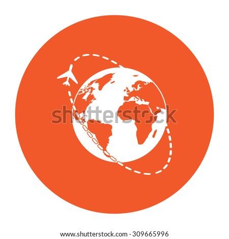 Air travel destination. Flat white symbol in the orange circle. Vector illustration icon - stock vector
