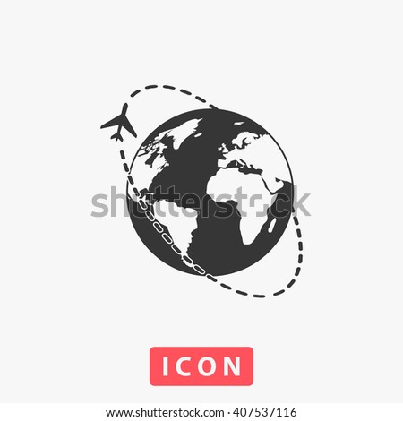 Air travel destination. Grey flat simple icon - stock vector
